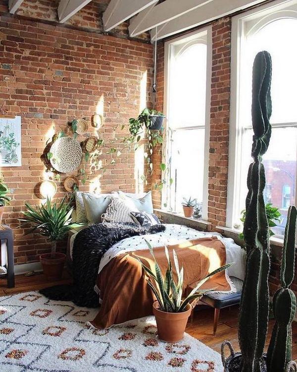 Minimalist bohemian bedroom design.