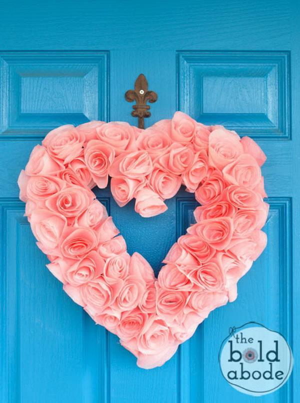 Coffee Filter Heart Wreath.