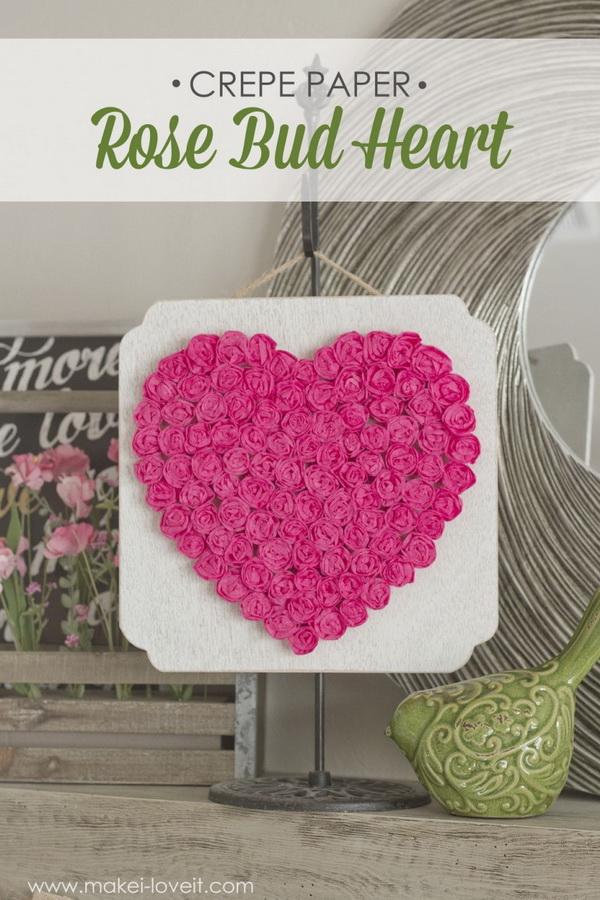 DIY Crepe Paper Rose Heart.