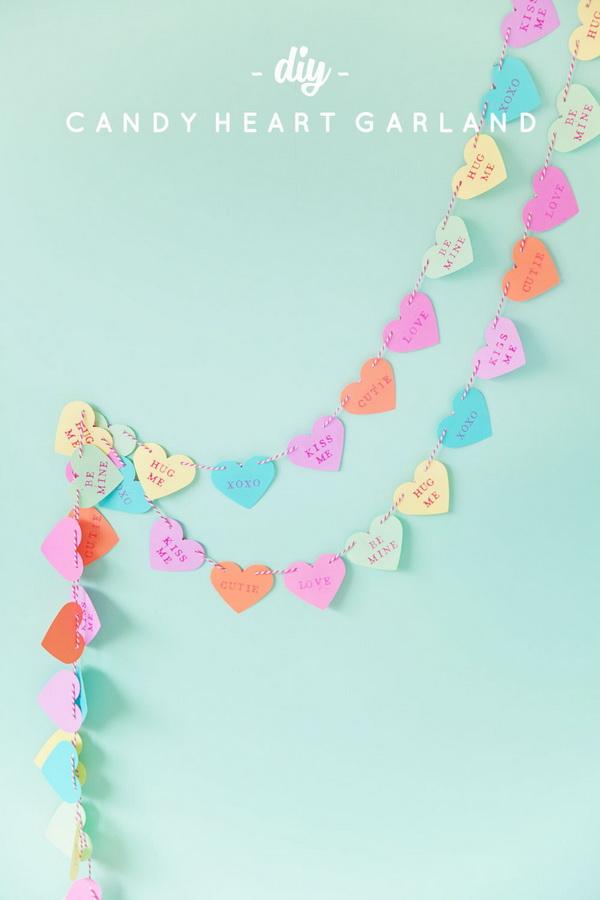 DIY Candy Heart Garland.