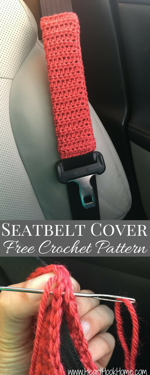 Seatbelt Cover Free Crochet Pattern. Nothing is a quicker crochet project than this crochet seatbelt cover pattern. It can be worked up in about half an hour.