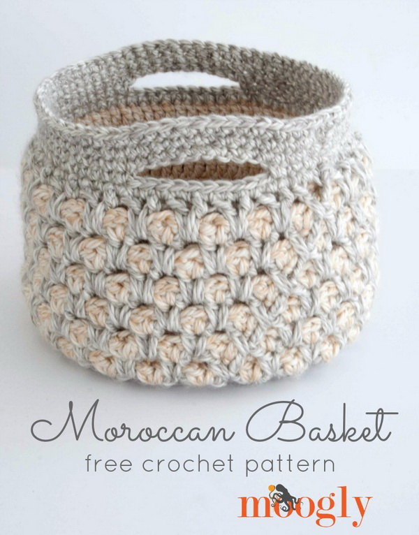 Moroccan Crochet Basket. Best beginner's crochet project! These crocheted baskets are useful for storing odds and ends! Easy and quick to make.