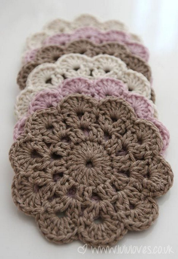 Beautiful Crochet Coasters. Crochet these beautiful coasters that shows off your do-it-yourself skills and add a homemade touch to your table!