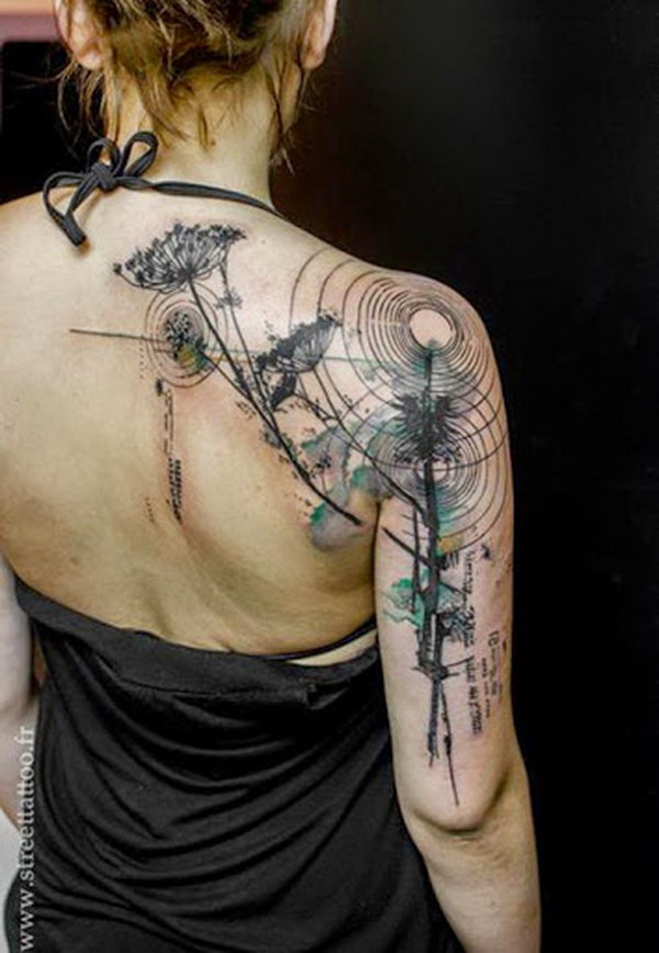 Watercolor Style Tattoo on Shoulder.