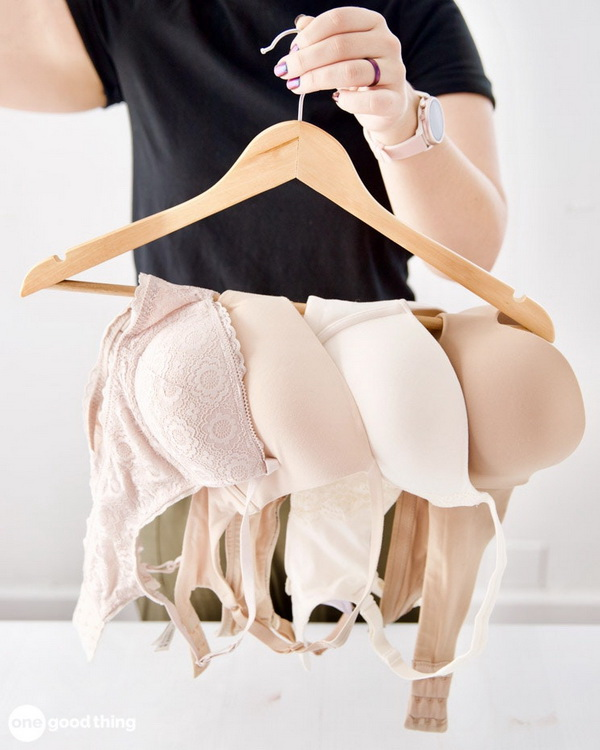 Hang Multiple Bras Up with Hanger to Save Space In A Small Closet.