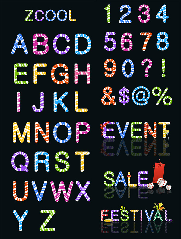 Candy Colored Letters And Figures Vector Material Download