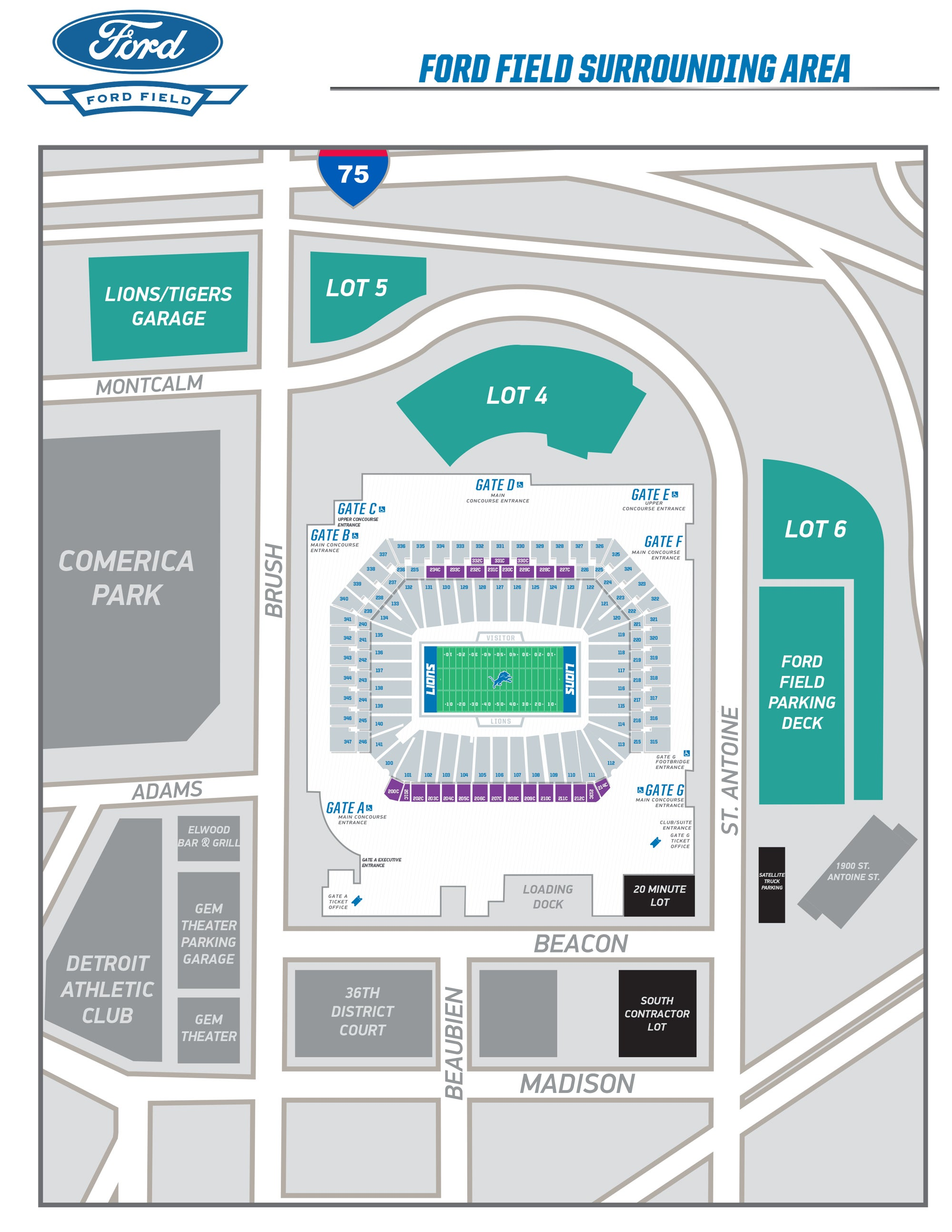 Ford Field Concert Seating Chart : field, concert, seating, chart, Seating, Field