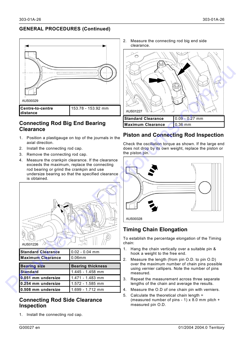Connecting rod bearing clearance