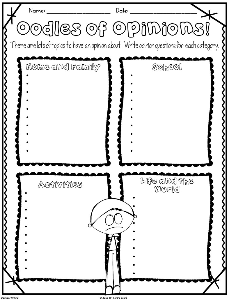 Opinion Writing Graphic Organizers • Ford's Board