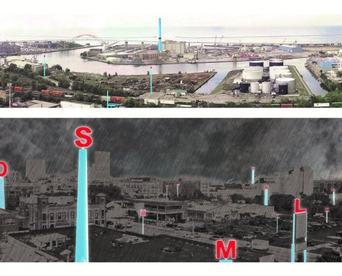 Renderings of Milwaukee's Lake Michigan waterfront with illustrations of WaterMarks, a project that helps citizens better understand the city water system