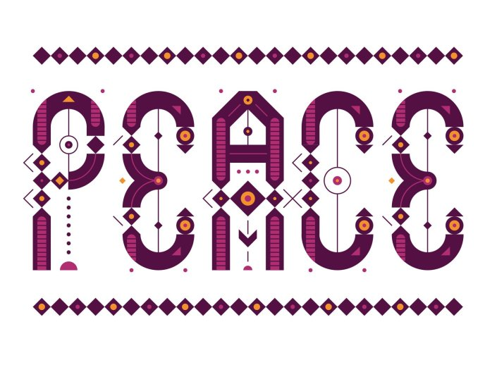 A magenta maroon orange and white poster illustration of the word PEACE is comprised of stylized letters full of circles dots and detailed linework. By Mike Davis.