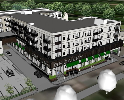 An artist's rendering shows an aerial view of the corner of a mixed use building with a lower level grocery store