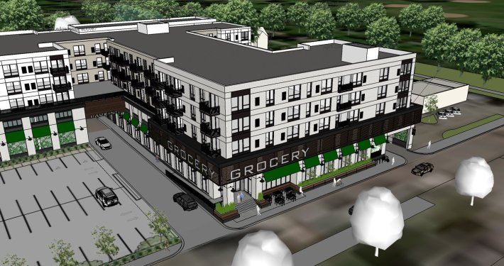 An artist's rendering shows an aerial view of the corner of a mixed use building with a lower level Lunds Byerlys grocery store