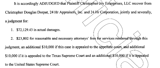 Dorpat found Guilty and Ordered To Pay Nearly ONE HUNDRED THOUSAND DOLLARS