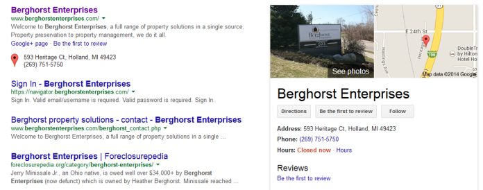 Berghorst Closed. Foreclosurepedia controls 4th and 5th Spot on Page One of Google