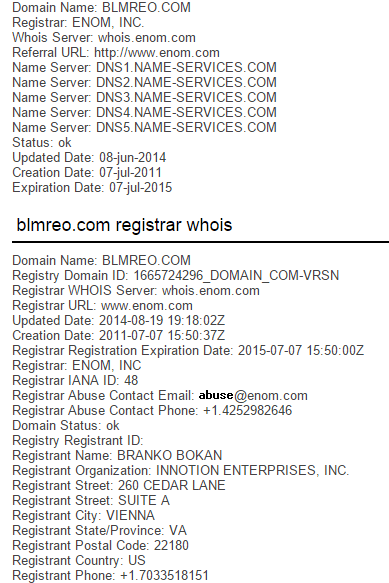 WHOIS Information is always something amateurs forget to change.