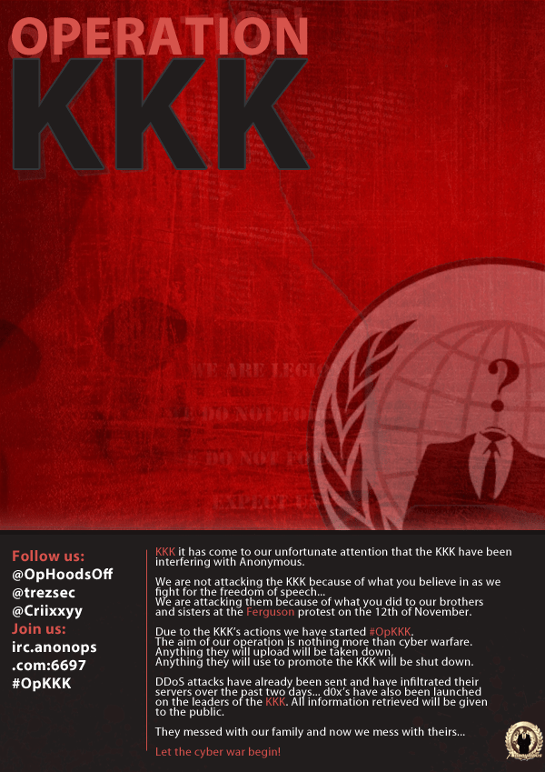 Anonymous ‏@Operation_KKK #Lulz @KuKluxKlanUSA #OpKKK #HoodsOff