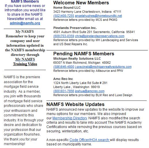 NAMFS Pending Members