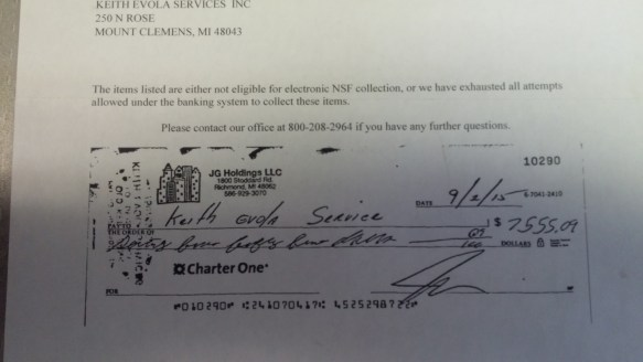Gay Jay Goscinski's NSF Check To Evola Service in Michigan --- Thanks Eric Miller!