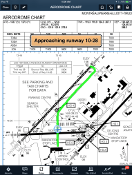 Use annotations to trace your taxi clearance and follow your ownship progress across the airport diagram. Runway proximity advisor alert is also shown here.