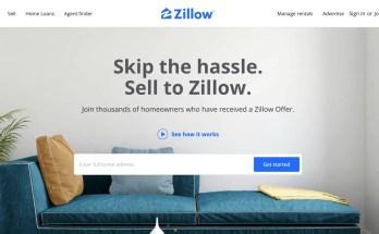 Zillow Offres page d'accueil, offrant de vendre votre maison