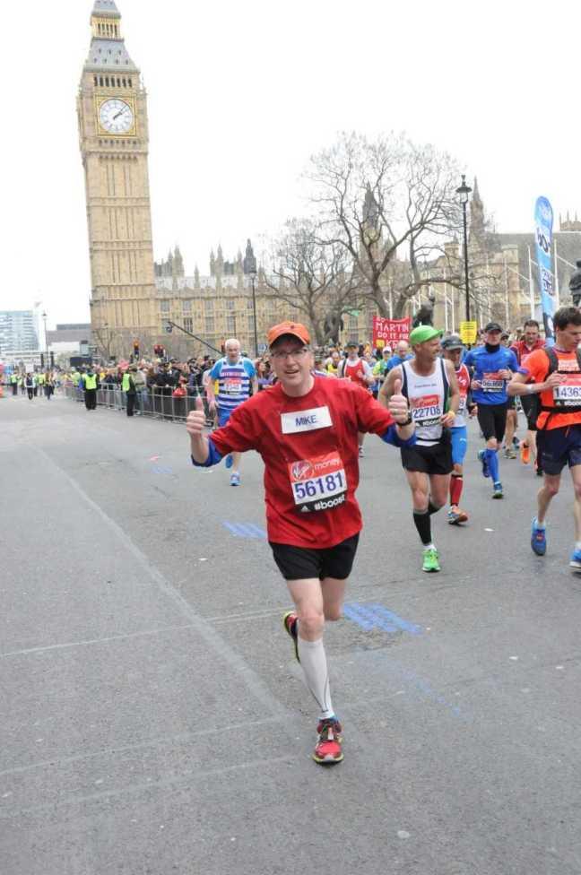 Silvio running in London, England