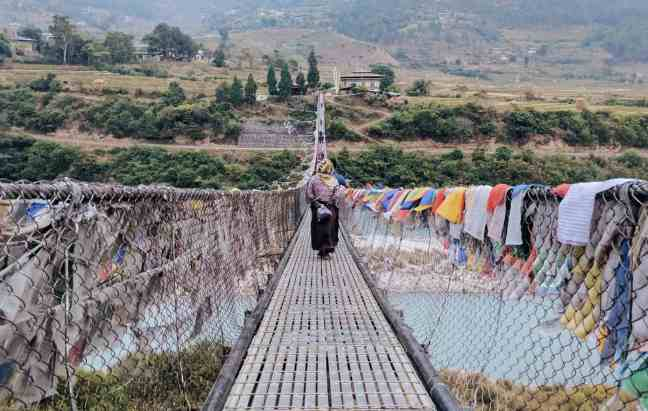 rope bridge in Bhutan