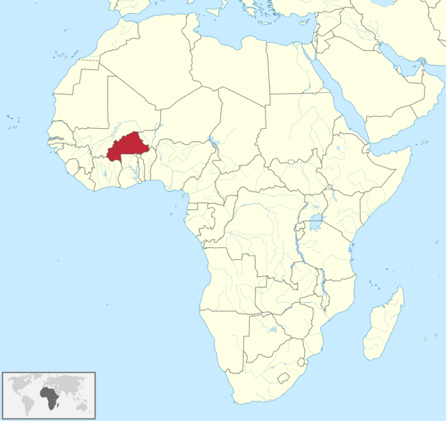 Burkina Faso on map of Africa