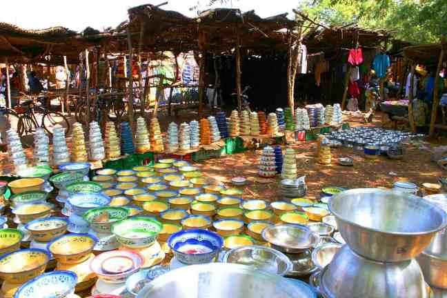 bowls at a market in burkina faso