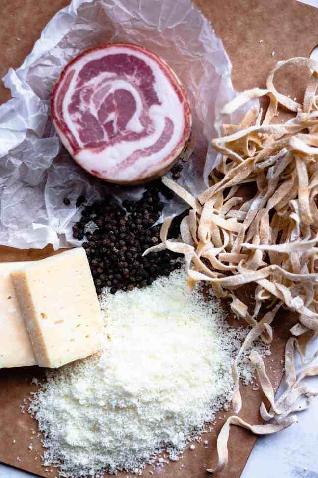 Ingredients of Cacio e Pepe