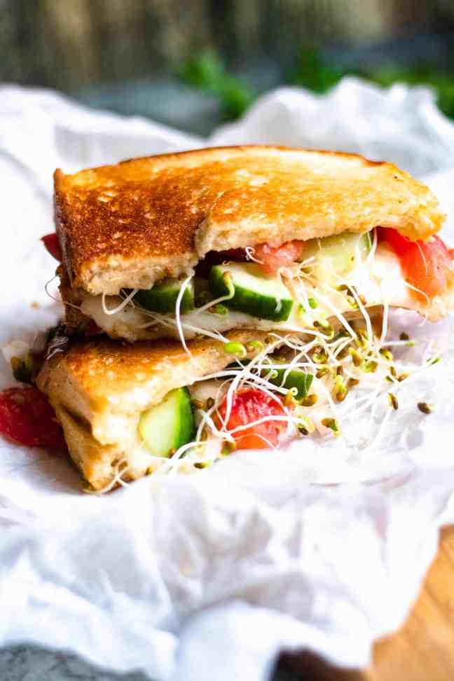 close up of panzanella sandwich