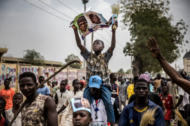 Supporters of the All Progressives Congress rally as they celebrate the re-election of Nigerian President Muhammadu Buhari in Kano on Feb. 27. (Luis Tato/AFP/Getty Images)
