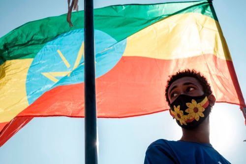A person stands below an Ethiopian flag during a blood donation rally in Addis Ababa, Ethiopia on Nov. 12.