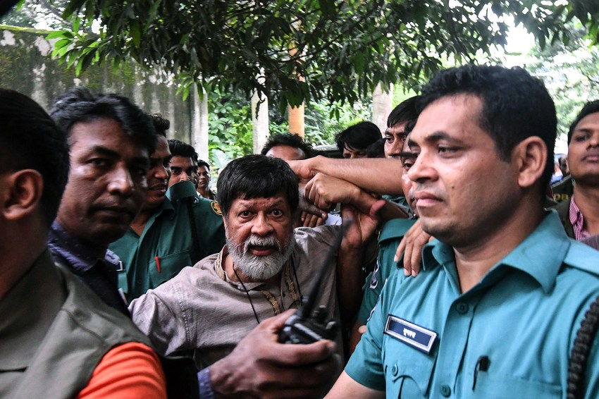 Shahidul Alam arrives for his appearance in court in Dhaka, Bangladesh on Aug. 6, 2018.