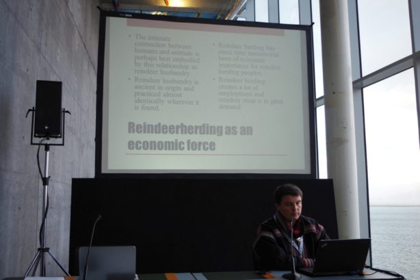 Anders J.H. Eira speaking on the Challenges of Reindeer Husbandry at Arctic Circle. October 2013. (c) Mia Bennett