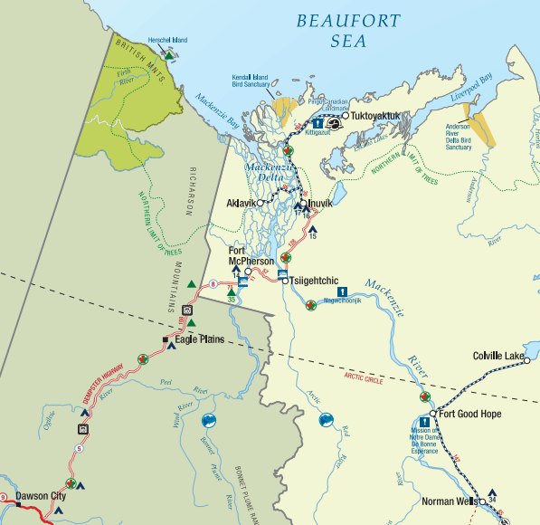 Map of Inuvik to Tuktoyaktuk highway. From spectacularnwt.com