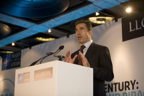 Anders Fogh Rasmussen delivering speech. © Luke Varley