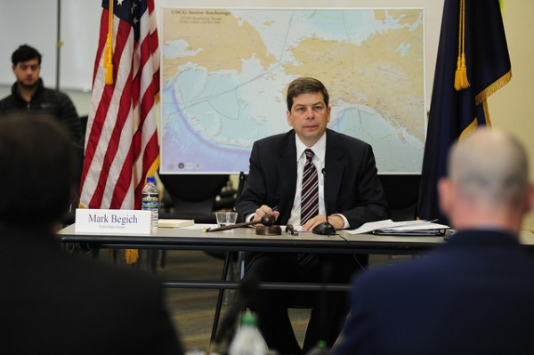 U.S. Sen. Mark Begich (D-AK) at a hearing in March 2013. (C) U.S. Coast Guard.