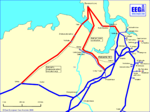 Map of Proposed Pipelines from the Yamal Peninsula (red) with Existing Pipelines from Western Siberia (blue)