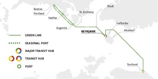The Green Line route. (c) Eimskip