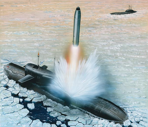 Illustration of Soviet submarine and missile. (c) Bokryt Cveta magazine.
