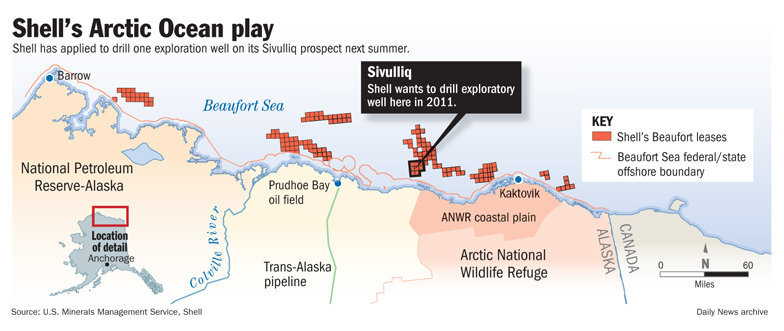 Shell's Desired Well Locations © Anchorage Daily News 2010