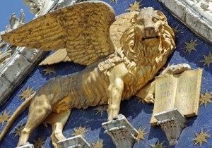Winged venetian lion -detail of the facade of basilica San Marco