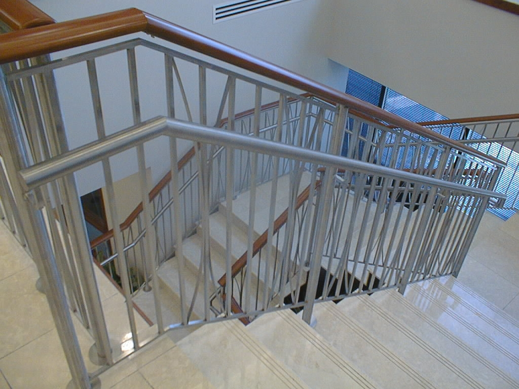 Hand Rails Railings Foreman Fabricators Inc St Louis Mo   Glass Stair Rails And Banisters   Photo Gallery   Perspex   Thick Solid Oak Stair   Mirror   Stair Price