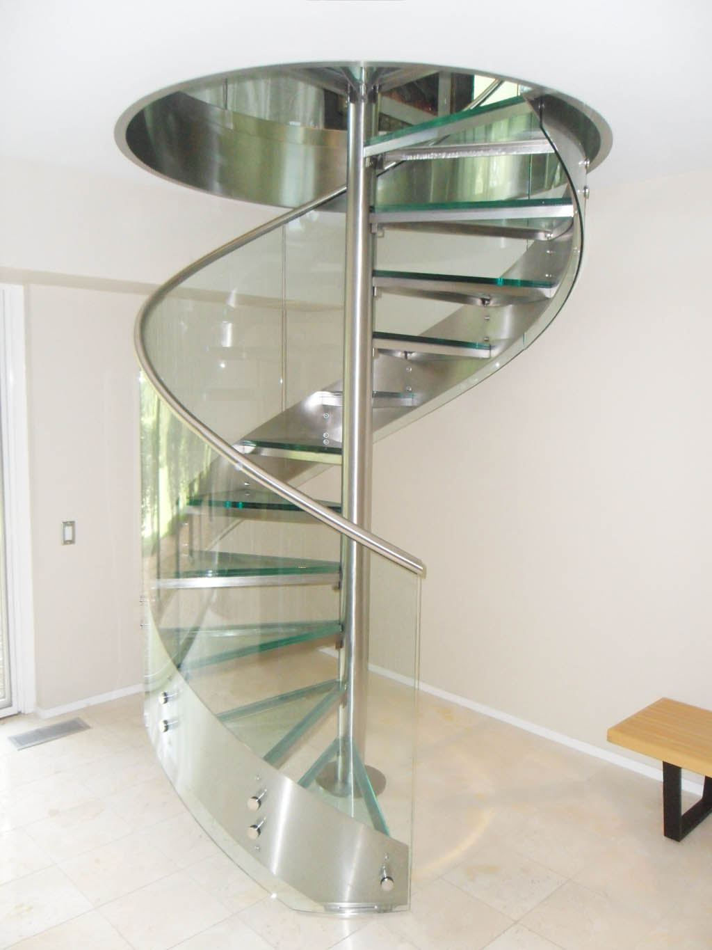 Stainless Steel and Glass Spiral Staircase
