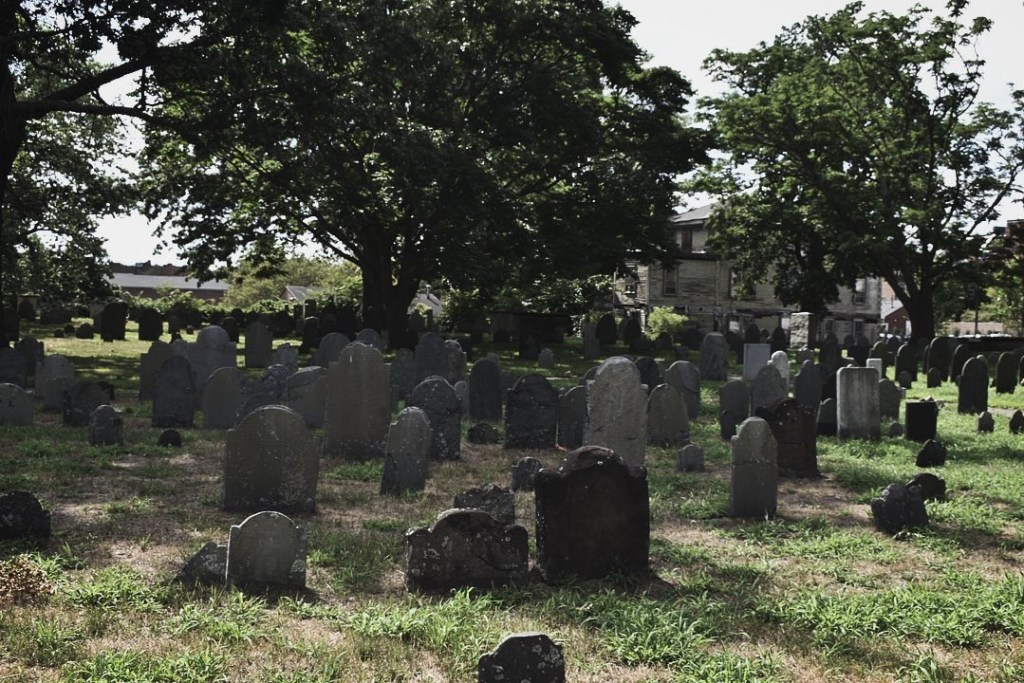 Old Burying Point Cemetery. The graveyard was closed off for restoration.