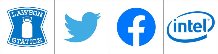 青色のロゴ例