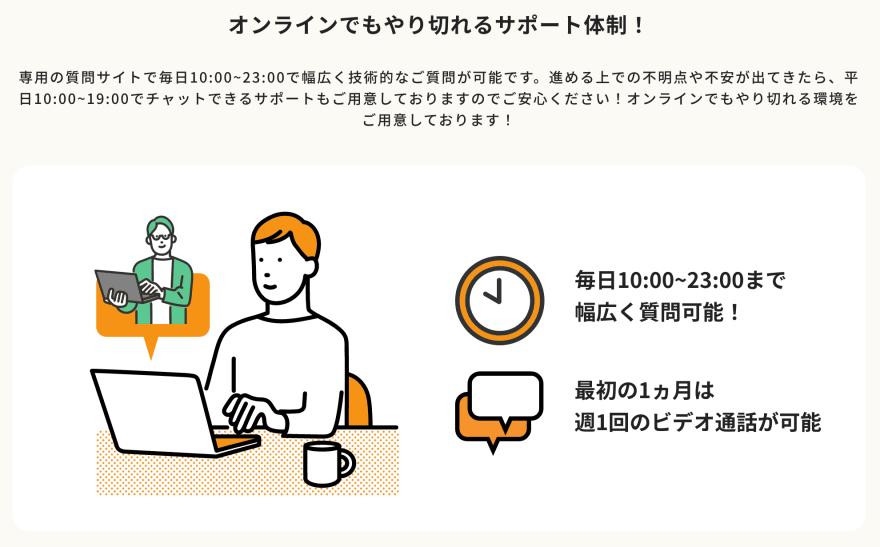 ポテパンメリット:オンラインでもやり切れる安心の学習サポート体制