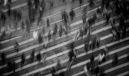 people walking in crosswalk