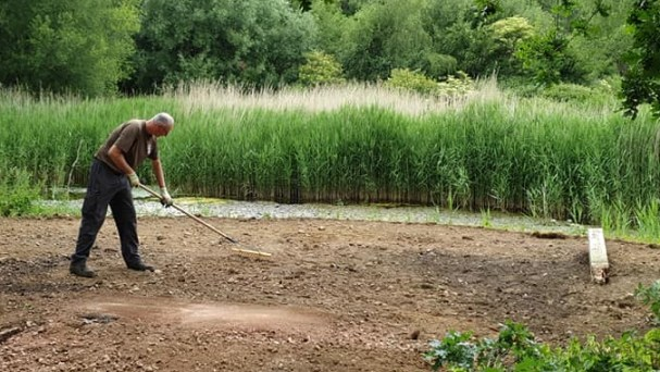 Work starts on preparing the ground for the new bird hide!